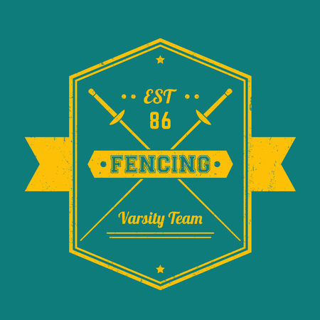 sabre: Fencing vintage emblem, logo, badge, with crossed foils, vector illustration