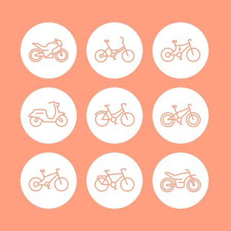 Bikes line icons set, bicycle icon, bike, cycling, motorcycle, motorbike, fat bike, scooter, electric bike, vector illustration