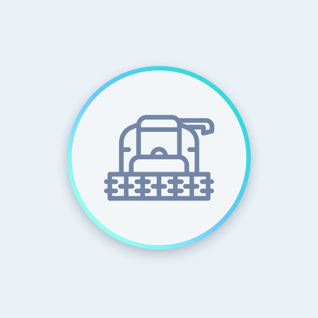 combine: Harvester machine line icon, grain harvester combine front view, stylish round icon, vector illustration