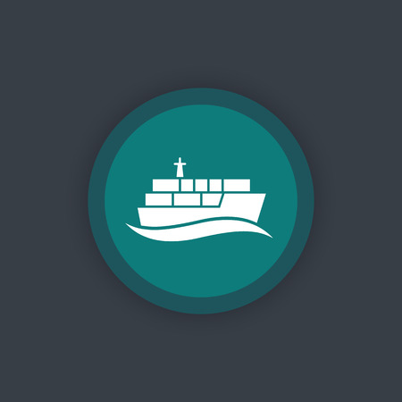 maritime: container ship icon, maritime transport pictogram, flat icon, vector illustration Illustration