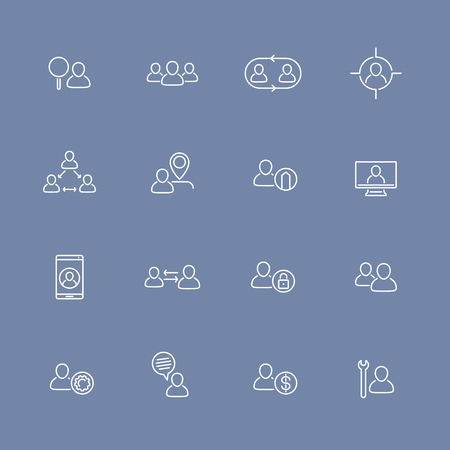 delegation: Personnel, HR line icons set, human resources, staff, community, employee, vector illustration