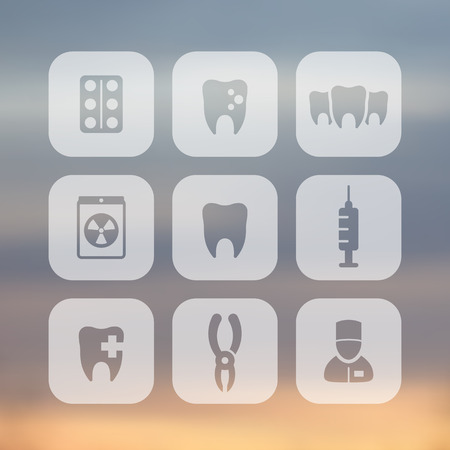 toothcare: Teeth icons, stomatology, dental health care, tooth cavity, dental pliers, toothcare, rounded square transparent icons, vector Illustration