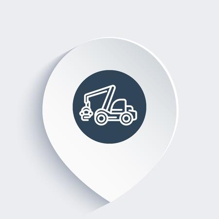 wheeled: Forest harvester icon, timber harvesting machine, wheeled feller buncher, linear icon on mark, vector illustration