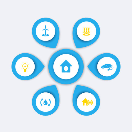 ecologic: Green ecologic house, energy saving modern technologies, infographics elements, icons, vector illustration