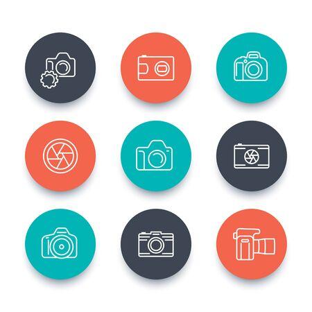 slr camera: camera line icons, dslr, aperture, photography, slr camera pictogram, flat round icons set, vector illustration Illustration