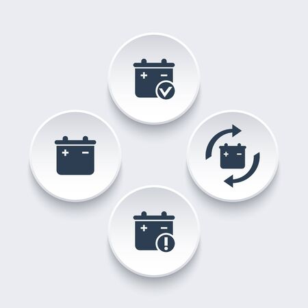 replacement: Battery icons on round 3d shapes, battery replacement, warning pictogram, vector illustration