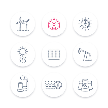 production of energy: Power, energy production line icons, energetics, solar, wind, nuclear energy pictograms, round icons set, vector illustration
