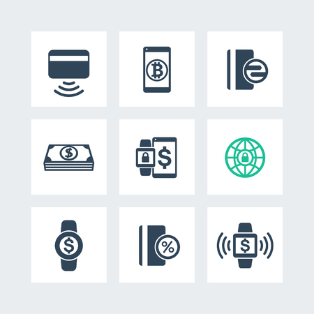 wirelessly: modern payment methods icons set, payment with wearable devices vector sign, contactless card pictogram isolated on white, vector illustration