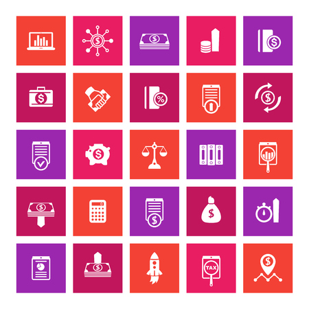 investing: 25 finance icons, investing, shares, stocks, money, funds, investment, income, square icons on white, vector illustration