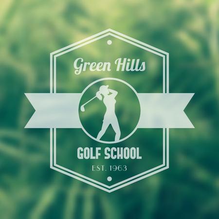golfer swinging: Golf school vintage logo, badge, tetragonal transparent emblem, with girl golfer, female golf player swinging golf club, vector illustration Illustration