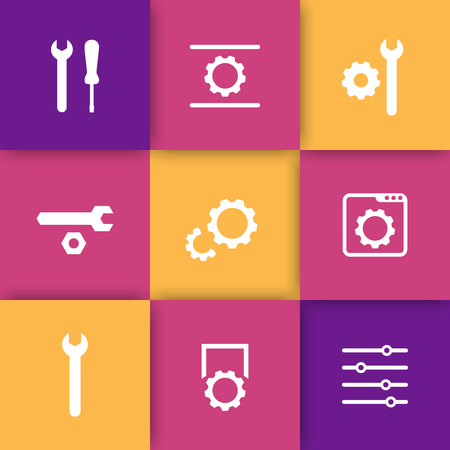 configuration: settings, configuration, development icons for websites and apps, vector illustration