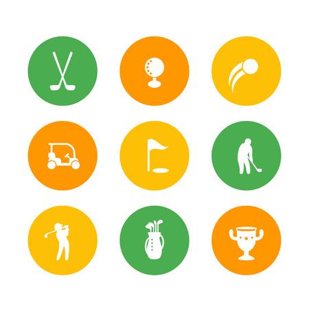 golf bag: Golf icons, golf clubs, golf player, golfer, golf bag, golf signs, round icons on white, vector illustration