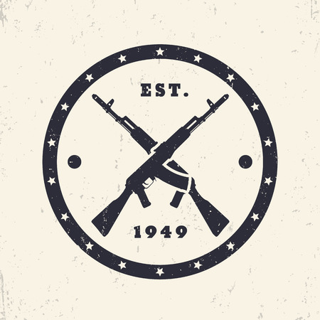assault: crossed assault rifles, round emblem, badge, vector illustration