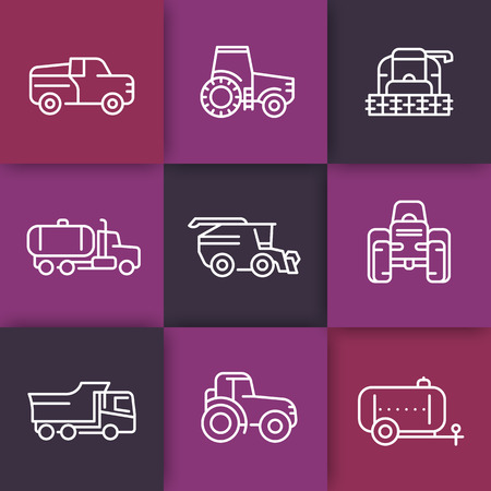 agricultural: Agricultural machinery line icons, tractor, combine harvester, agricultural vehicles, grain harvesting combine, truck, pickup, linear icons on squares, vector illustration