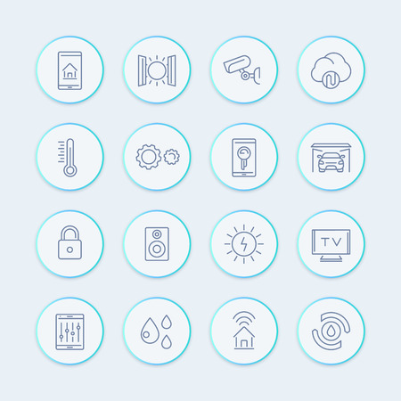 smart house technology system line icons, home automation control system, smart house round pictograms, vector illustration 向量圖像