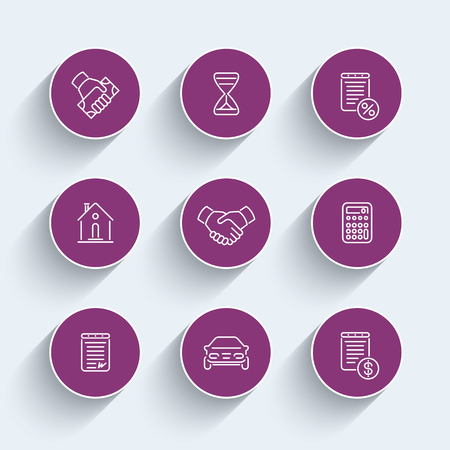 leasing: Leasing line icons, banking, loan, assets, deal, round linear pictograms set, vector illustration