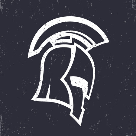 spartan helmet, side view, silhouette of an antique roman or greek helmet, vector illustration