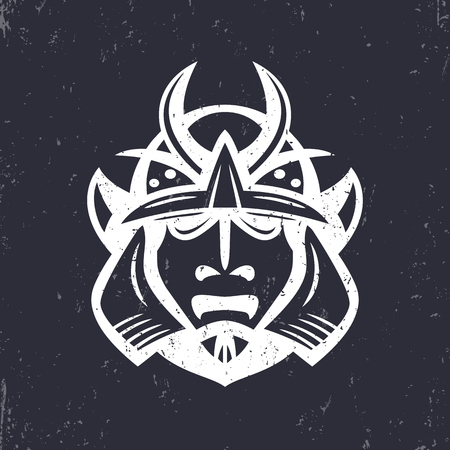 Samurai helmet, japanese facial armour worn by the samurai warrior, traditional martial mask, vector illustration 일러스트