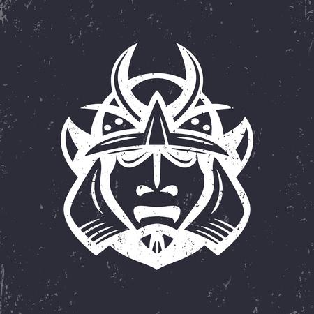 Samurai helmet, japanese facial armour worn by the samurai warrior, traditional martial mask, vector illustration Illustration