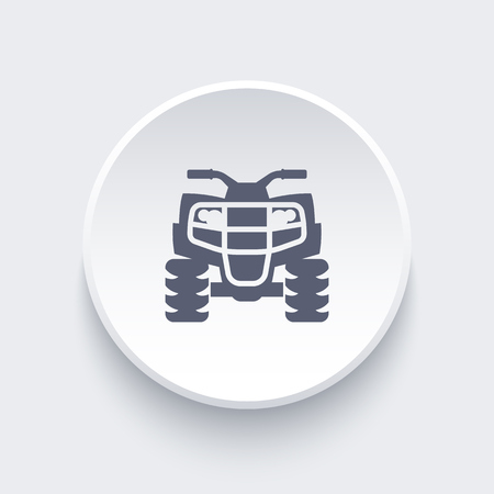 quad: quad bike, atv, quadricycle icon on round shape, vector illustration Illustration
