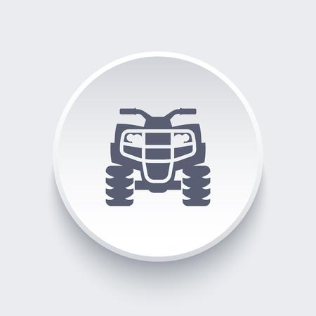 atv: quad bike, atv, quadricycle icon on round shape, vector illustration Illustration
