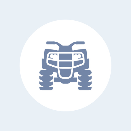 atv: quad bike icon, all terrain vehicle, atv, quadricycle vector sign, icon isolated on white, vector illustration