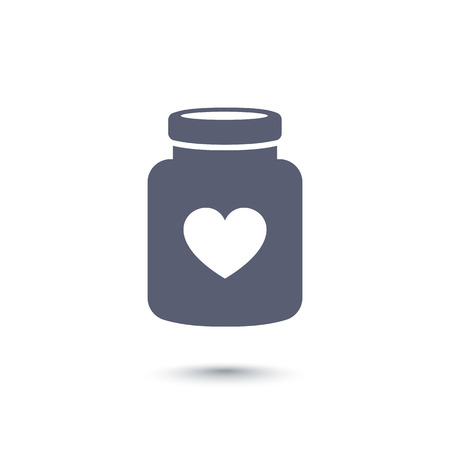 preventive: bottle of pills with heart icon, drugs, pictogram on white, vector illustration