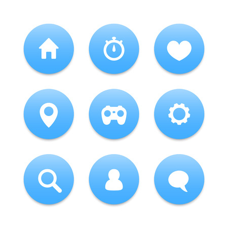 web address: Basic web icons, settings, login, home, address, search, favourite, chat, vector illustration