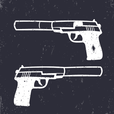 special forces: hand drawn pistol with silencer, gun, white on dark, vector illustration