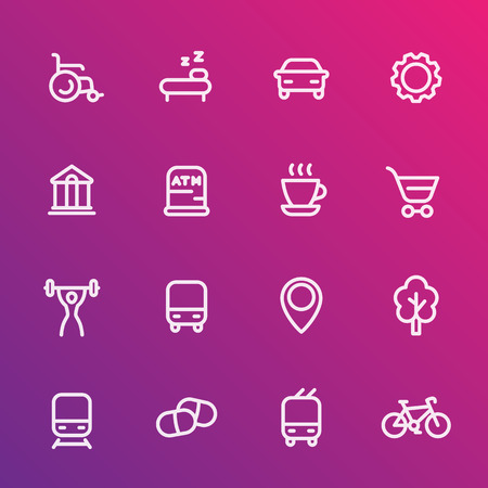 signatures: line icons set for map legend, signatures, signs for city map, vector illustration Illustration