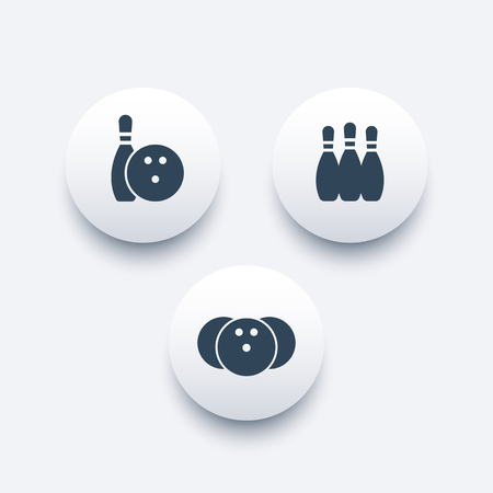 Bowling round icons, bowling pins and ball, vector illustration