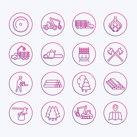 logging: Logging icons, sawmill, forestry equipment, logging truck, tree harvester, timber, wood, lumber, thin line icons set, vector illustration