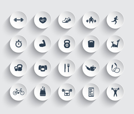 20 fitness icons, gym, workout, training, pictograms, icons on round 3d shapes, vector illustration Stock Illustratie