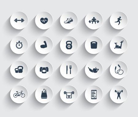 20 icônes de remise en forme, salle de gym, séance d'entraînement, de la formation, des pictogrammes, des icônes sur les formes 3d rondes, illustration vectorielle
