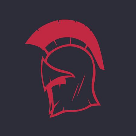 Spartan helmet element, red isolated on dark, vector illustration