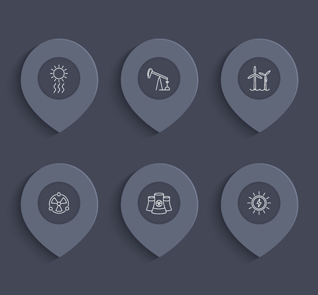 nuke: Power, energy production, energetics, electric industry line icons on marks