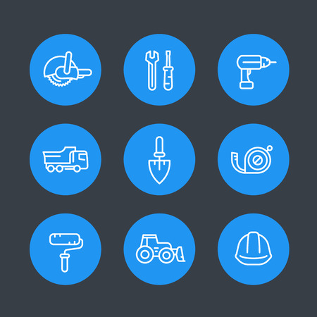 construction equipment: construction line icons set, construction equipment and tools, vector illustration