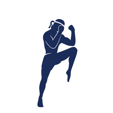 muay thai: Muay thai athlete, boxer in a defensive fighting stance vector silhouette, man doing boxing exercise element, t-shirt print Illustration