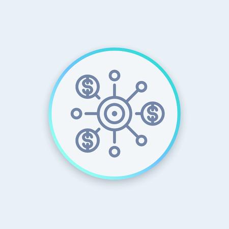crowdfunding sottile riga icone, illustrazione vettoriale