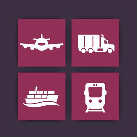 lading: transportation industry icons, cargo train vector, air transportation, maritime transport, cargo truck, vector illustration