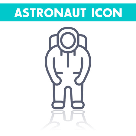 space suit: Astronaut line icon, space suit, astronaut vector pictogram, linear icon isolated on white, vector illustration