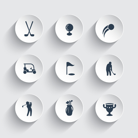 golf bag: Golf icons, golf clubs, golf player, golfer, golf bag, pictograms, icons on round 3d shapes, vector illustration Illustration