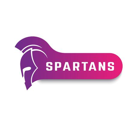 Spartans logo with warrior helmet on white, vector illustration
