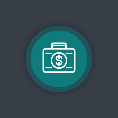 investor: investing icon, investor, loan, investment, suitcase with money linear pictogram, vector illustration