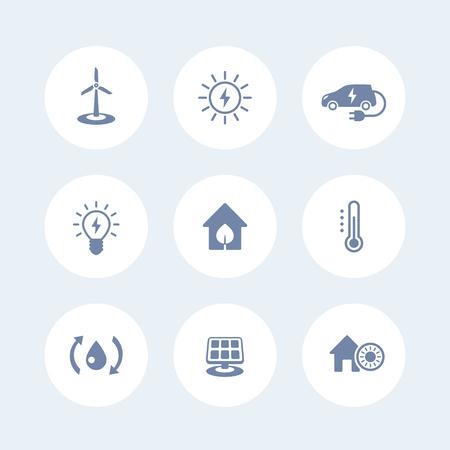 ecologic: Green ecologic house, energy saving technologies, icons isolated on white, vector illustration