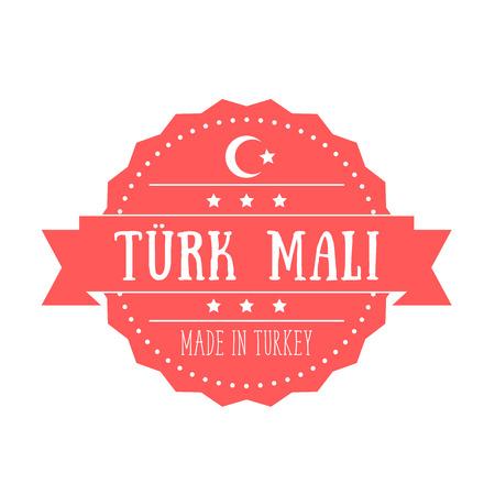 emblem red: Made in Turkey, vintage badge, emblem,red isolated on white, vector illustration