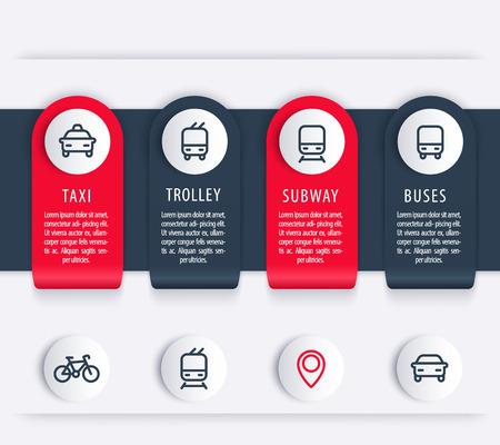 transportation icons: City transport, infographics elements, icons, public transportation infographics, report, presentation template, vector illustration