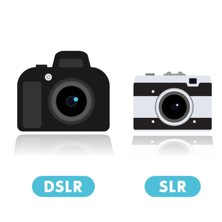 camera film: DSLR camera and retro compact camera icons isolated on white, vector illustration