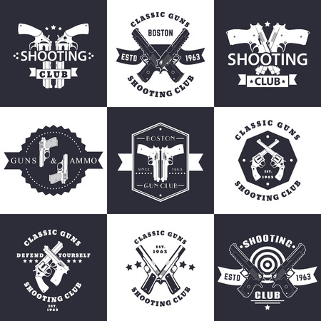 handguns: Shooting Club, Guns and Ammo vintage emblems, signs with crossed revolvers, guns, pistols, logo with handguns, vector illustration