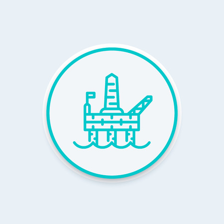deep drilling: oil drilling platform line icon, offshore oil rig, plant for the extraction of gas linear pictogram, vector illustration